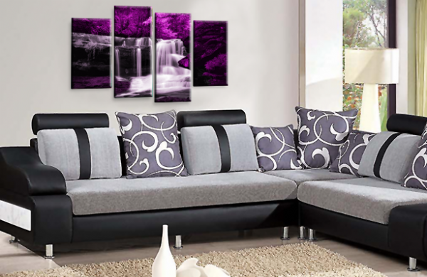 Forest Waterfall Wall Art Picture Print Purple Black Grey